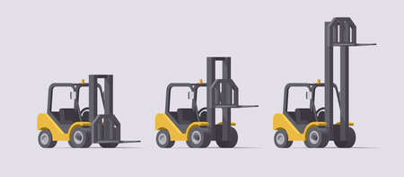Vector forklift set. 3d forklifts with different fork positions on light background. Collection