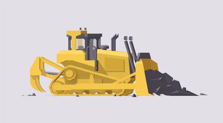 Vector dozer. Big yellow working bulldozer on light background. Collection