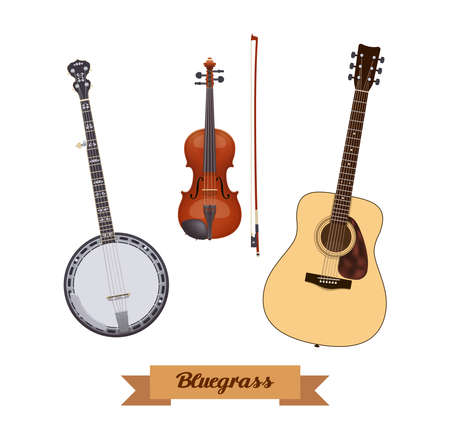 Guitar set. Realistic bluegrass instruments on white background. Violin, banjo & guitar. Vector illustration. Collection