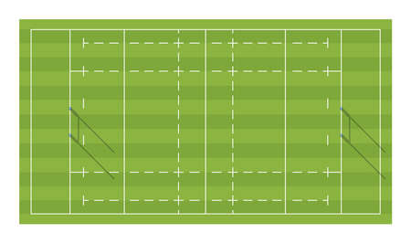 Rugby field with goals. Top view Stock Illustratie