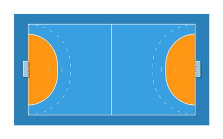 Handball court with goals. Top view