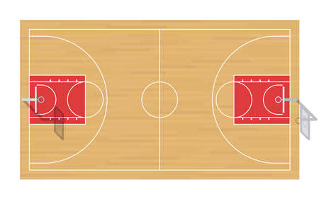 Basketball court with baskets. Top view