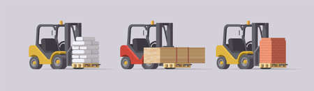 Vector forklift set. 3d forklifts with cargo on light background. Collection