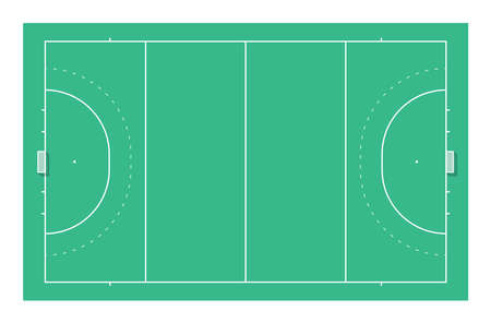 Field hockey field with goals. Top view Ilustrace