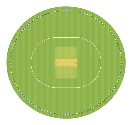 Cricket field with stumps. Top view