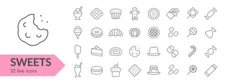 Sweets line icon set. Isolated signs on white background. Vector illustration Ilustrace