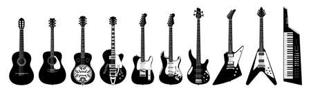 Guitar set. Acoustic & electric guitars on white background. Vector monochrome illustration. Musical Instruments. Collection Ilustrace