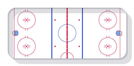 Hockey field with goals. Top view