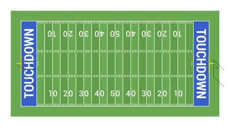 American football field with goals. Top view Stock Illustratie