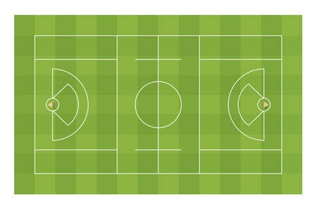 Lacrosse field with goals. Top view