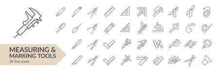 Measuring & marking tools line icon set. Isolated signs on white background. Vector illustration Ilustracja