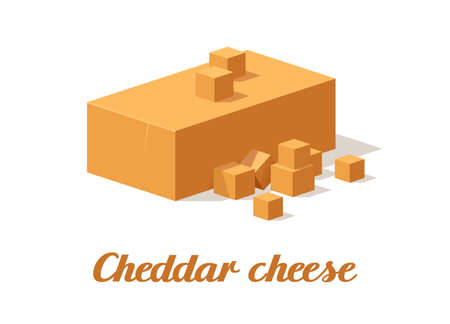 Cheddar cheese. Realistic cheese on white background. Vector illustration. Collection Ilustrace