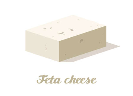 Feta cheese. Realistic cheese on white background. Vector illustration. Collection