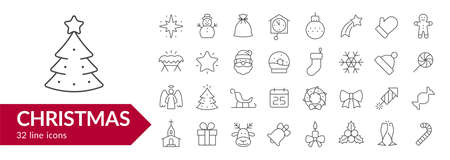 Christmas line icon set. Isolated signs on white background. Vector illustration Ilustrace