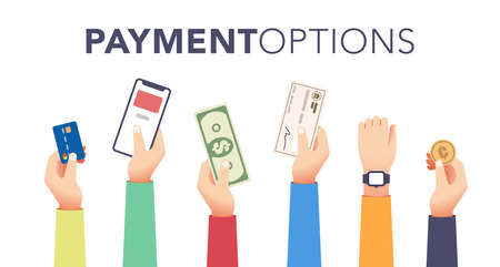 Payment options set it flat style. Isolated elements on white background. Vector illustration Collection Ilustrace
