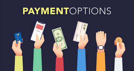 Payment options set it flat style. Isolated elements on dark background. Vector illustration Collection Ilustrace
