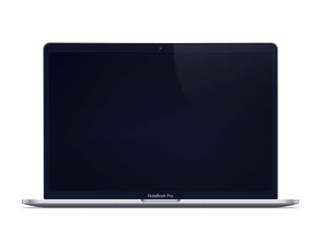 Modern laptop mockup front view. Isolated laptop with black screen on white background.