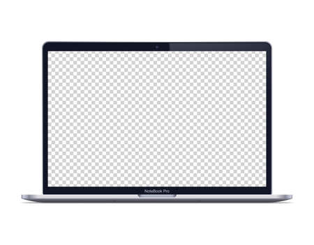 Modern laptop mockup front view. Isolated laptop with transparent screen on white background.
