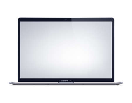Modern laptop mockup front view. Isolated laptop with blank screen on white background.