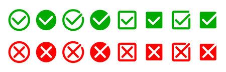 Check mark icon set. Modern symbols on white background. Vector illustration. Collection Ilustrace