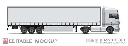 Editable semi truck mockup. Realistick tractor & tilt trailer on white background. Vector illustration. Collection Ilustrace