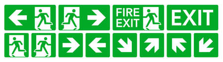 Fire exit signs set. Green emergency symbols on white background.
