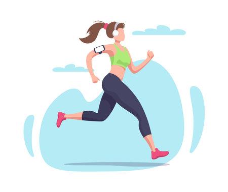 Flat running woman. Athlete, fitness, sport. Vector illustration.