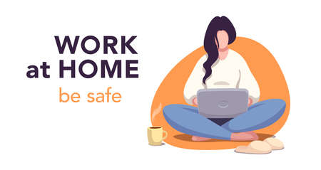 Work at home & be safe. Flat concept. Young woman working at home. Ilustrace