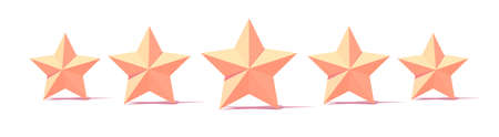 five stars customer product rating sign. Flat stars with shadow on white background.