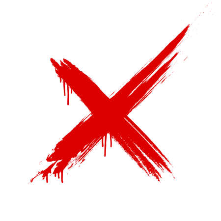 Red cross sign. Grunge X symbol. Realistic brush. Collection Ilustrace