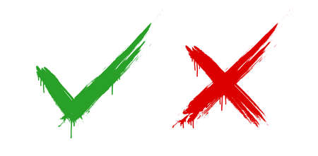 Check mark & cross signs. Green checkmark & red X symbol. COllection