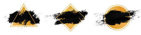 Vector black paint in golden frame on white background. Collection Ilustrace