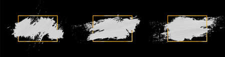 Vector white paint in golden frame on black background. Collection