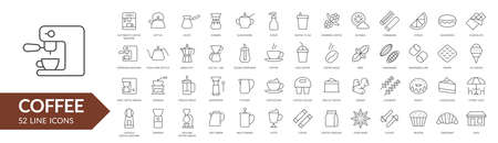 Coffee line icon set. Coffee makers, dishes, spices. Vector illustration