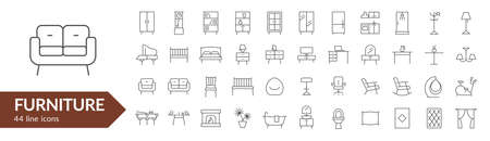 Furniture line icon set. Isolated signs on white background. Vector illustration
