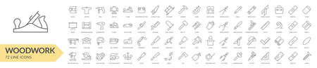 Woodwork tools line icon set. Isolated signs on white background. Vector illustration