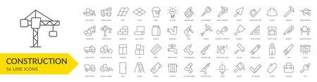 Construction line icon set. Construction vehicle, elements, tools. Vector illustration