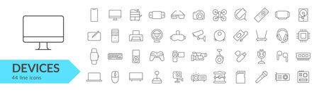 Devices, gadgets, electronics line icon set. Vector illustration