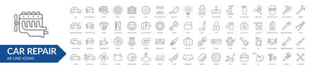 Car repair line icon set. Isolated signs on white background. Services & car parts & toolsVector illustration Ilustrace