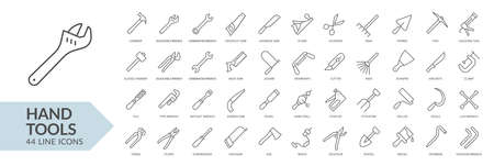 Hand tools line icon set. Isolated signs on white background. Vector illustration Ilustrace