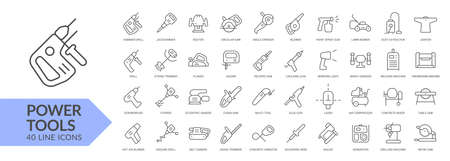 Power tools line icon set. Isolated signs on white background. Vector illustration