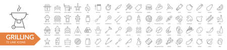 Grilling BBQ line icon set. Isolated signs on white background. Vector illustration Ilustrace