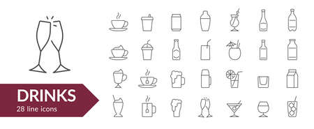 Drinks line icon set. Isolated signs on white background. Vector illustration