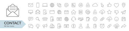 Contact line icon set. Isolated signs on white background. Vector illustration