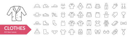 Clothes line icon set. Isolated signs on white background. Vector illustration