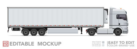 Editable semi truck mockup. Realistick tractor & refrigerated trailer on white background. Vector illustration