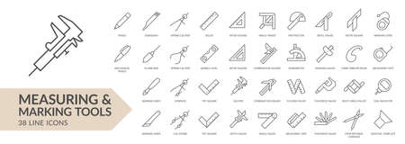 Measuring & marking tools line icon set. Isolated signs on white background. Vector illustration Ilustrace