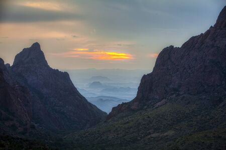 Window pour off, Big Bend National Park, USA. Picture taken at sunset. View from Chisos Basin.