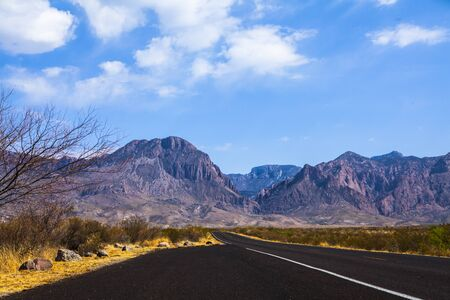 Road to Chisos Mountains, Big Bend National Park, Texas, USA,