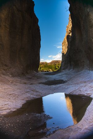 Between cliff wall, Big Bend Ranch State Park, Texas, USA,